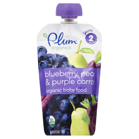 Plum 2 (6 Months & Up) Pear & Purple Carrots Blueberry Organic Baby Food, 4.22 Oz (Pack of 6)