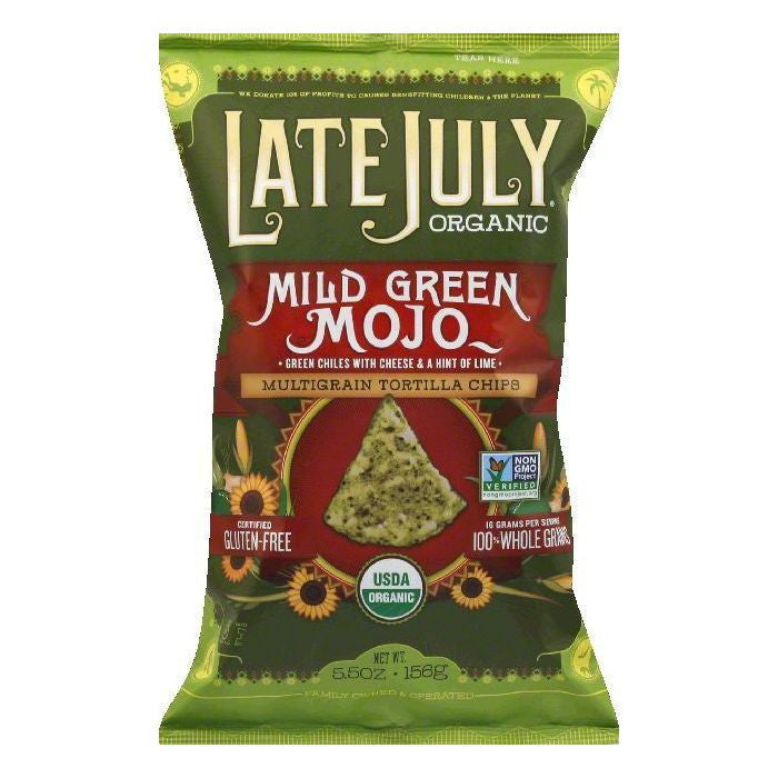 Late July Mild Green Mojo Multigrain Tortilla Chips, 5.5 OZ (Pack of 12)