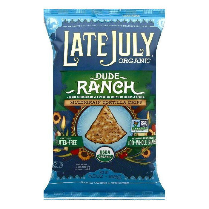Late July Dude Ranch Multigrain Tortilla Chips, 5.5 OZ (Pack of 12)