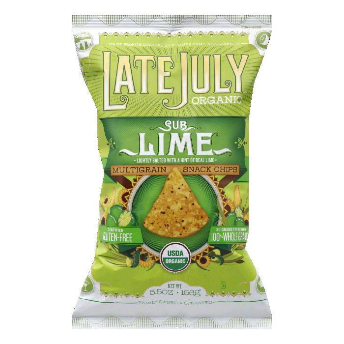 Late July SubLime Multigrain Snack Chips, 5.5 Oz (Pack of 12)