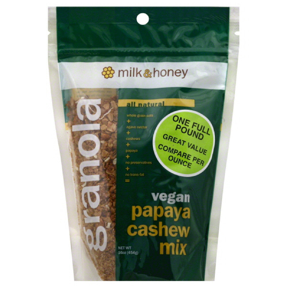Milk & Honey Papaya Cashew Mix Granola, 16 Oz (Pack of 6)