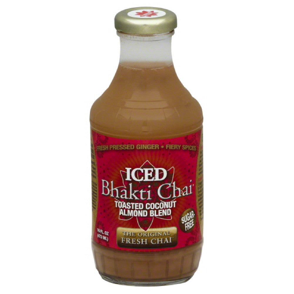 Bhakti Chai Toasted Coconut Almond Blend Iced Chai, 16 Oz (Pack of 12)