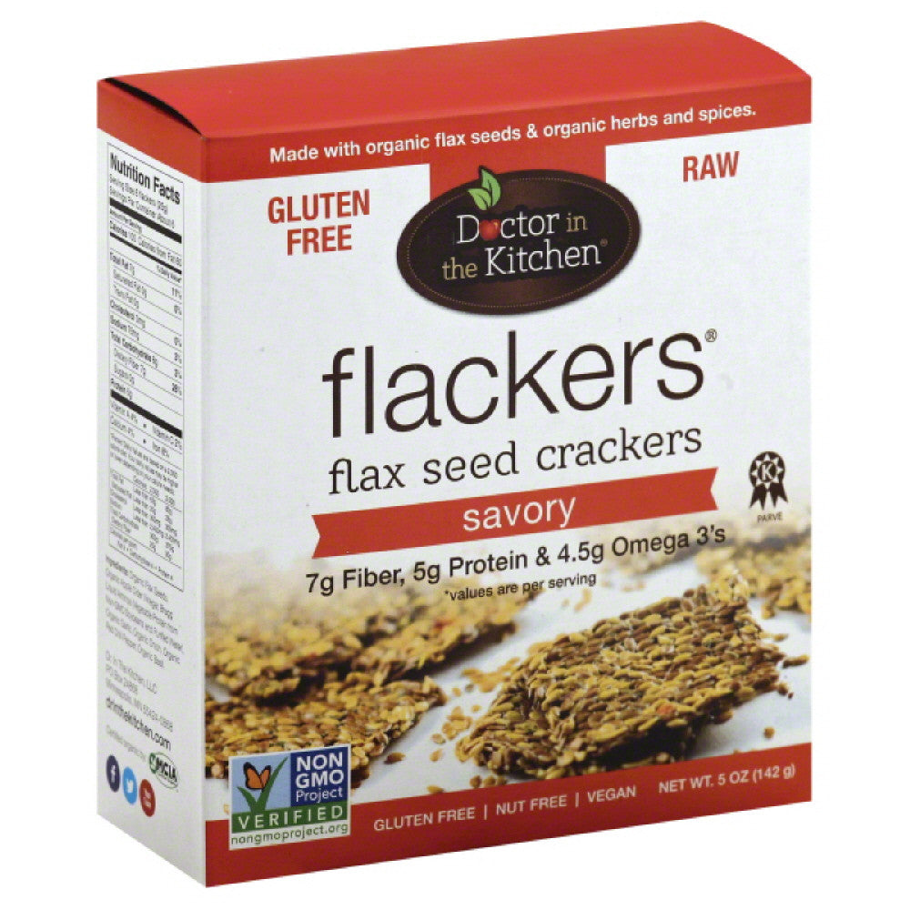 Doctor In The Kitchen Savory Flax Seed Crackers, 5 Oz (Pack of 12)