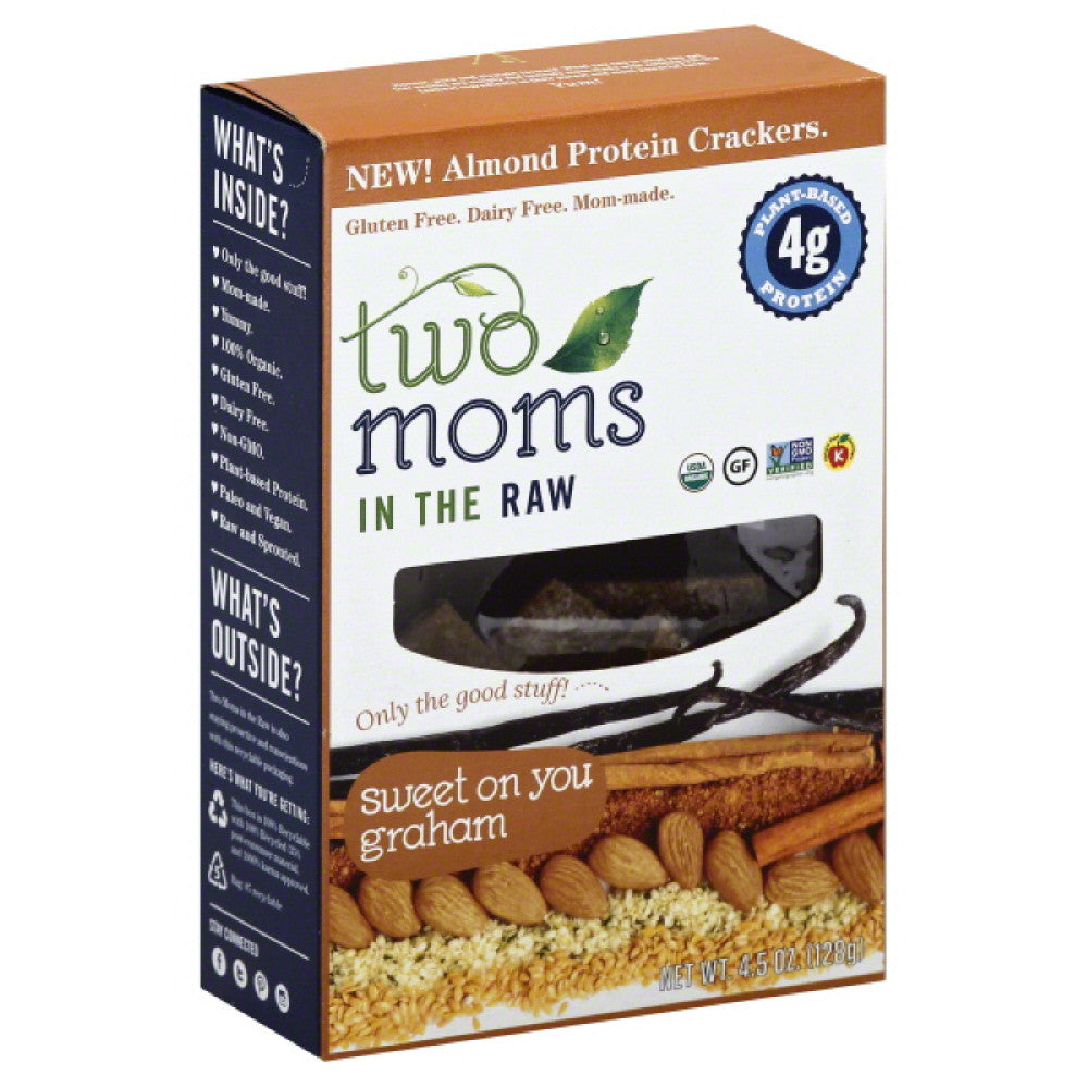 Two Moms in the Raw Sweet On You Graham Almond Protein Crackers, 4.5 Oz (Pack of 6)