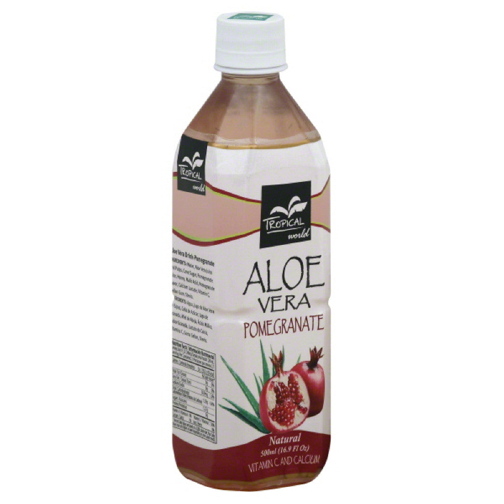 Tropical World Pomegranate Aloe Vera Drink, 16.9 Oz (Pack of 12)