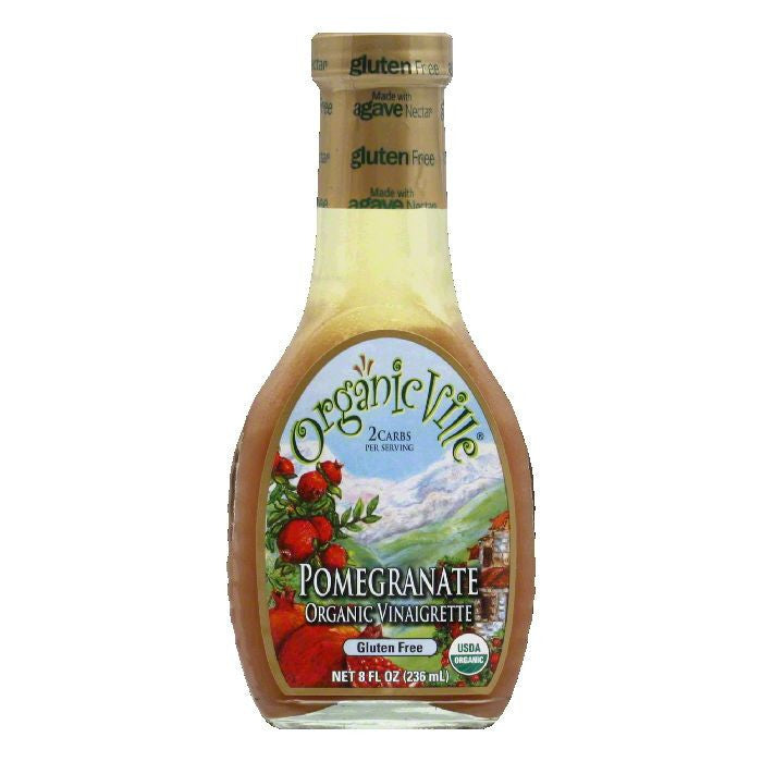 OrganicVille Gluten Free Vinaigrette Pomegranate Organic, 8 OZ (Pack of 6)