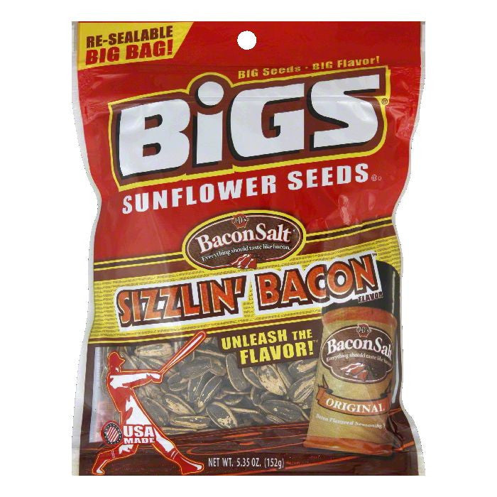 Bigs Bacon Salt Sunflower Seeds, 5.35 OZ  ( Pack of  8)
