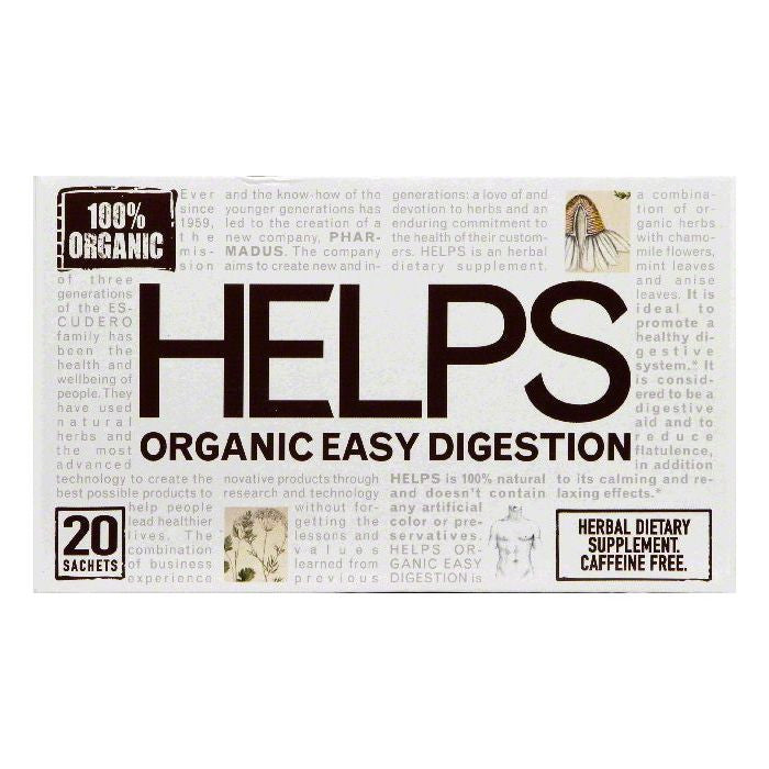 Helps Bags Caffeine Free Organic Easy Digestion Herbal Tea, 20 ea (Pack of 6)
