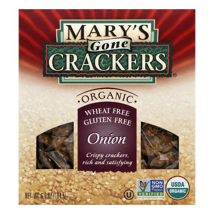 Mary's Gone Crackers Gluten Free Onion, 6.5 OZ (Pack of 12)