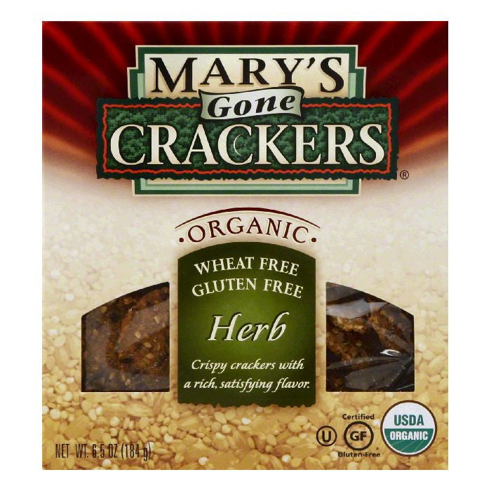 Mary's Gone Crackers Gluten Free Herb, 6.5 OZ (Pack of 12)