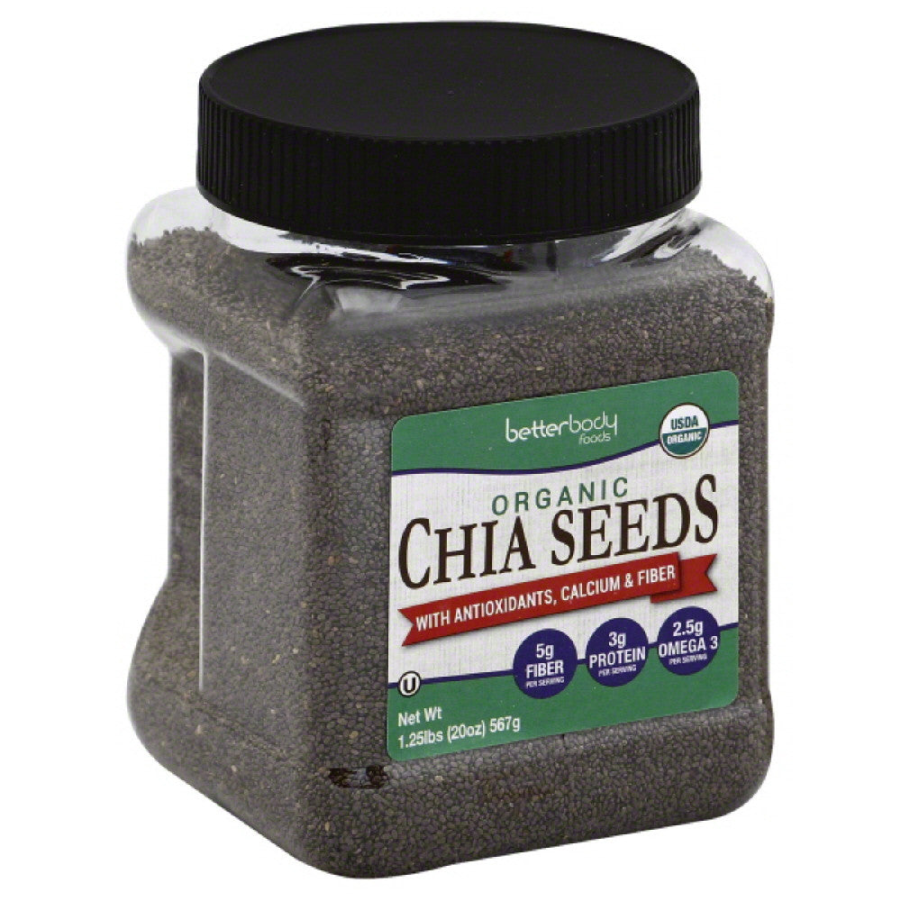 BetterBody Foods Calcium & Fiber with Antioxidants Organic Chia Seeds, 1.25 Lb (Pack of 6)