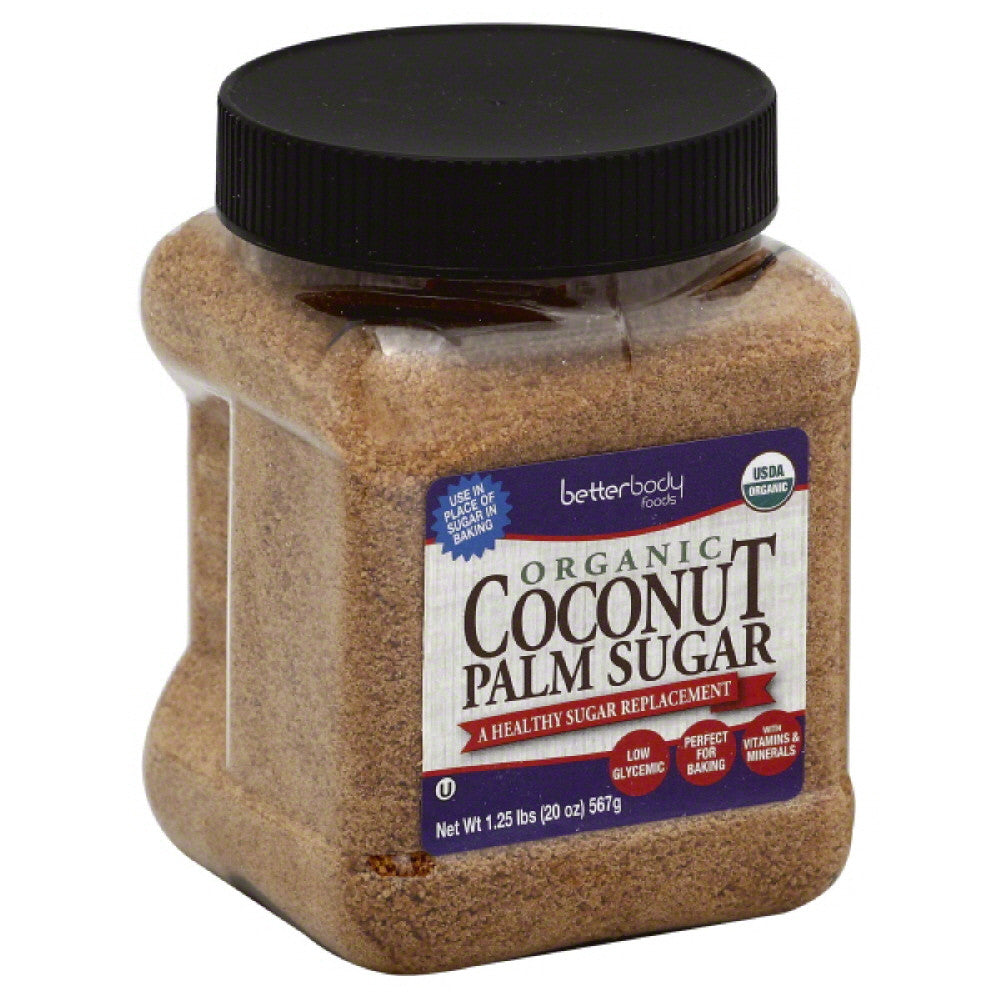BetterBody Foods Organic Coconut Palm Sugar, 1.25 Lb (Pack of 6)