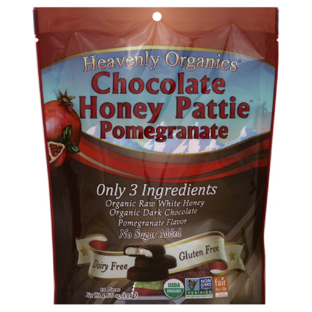 Heavenly Organics Pomegranate Chocolate Honey Patties, 4.66 Oz (Pack of 6)