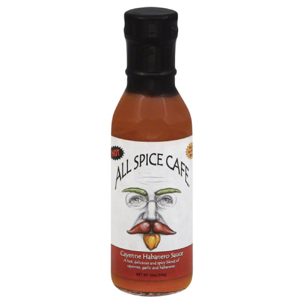 All Spice Cafe Hot Cayenne Habanero Sauce, 12 Oz (Pack of 6)