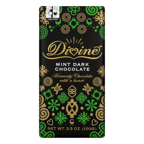 Divine Chocolate 70% Dark Chocolate Bar with Mint, 3.5 OZ (Pack of 10)