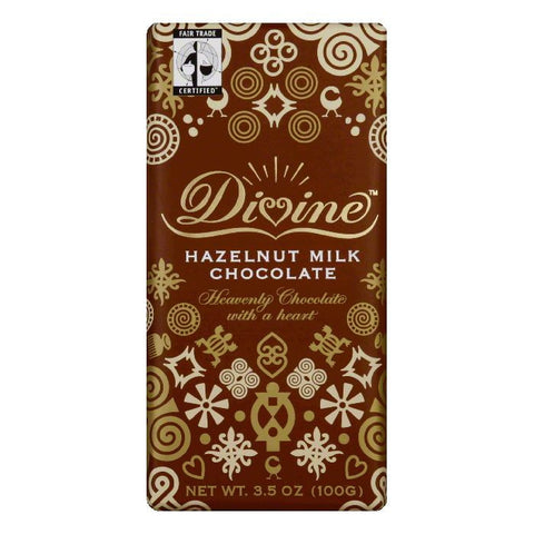 Divine Chocolate Hazelnut Milk Chocolate Bar, 3.5 OZ (Pack of 10)