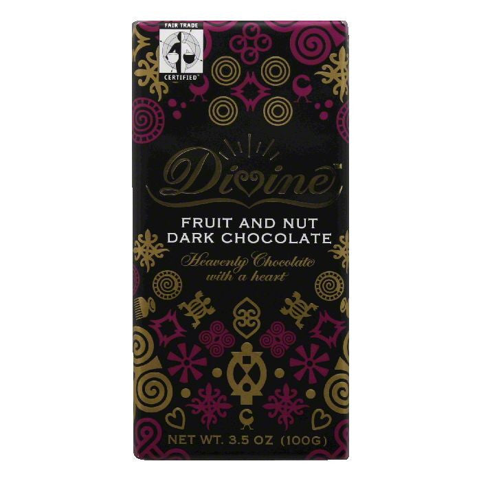 Divine Chocolate Fruit And Nut Bar, 3.5 OZ (Pack of 10)