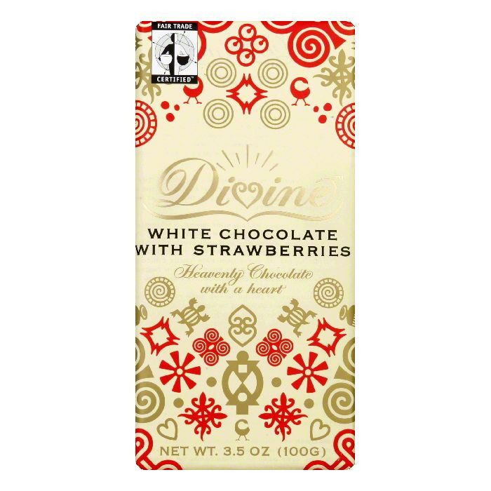 Divine Chocolate White Chocolate Bar with Strawberry, 3.5 OZ (Pack of 10)