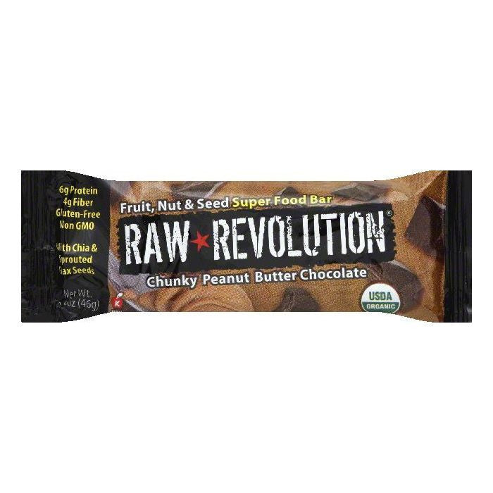 Raw Revolution Chunky Peanut Butter Chocolate Nut & Seed Fruit Super Food Bar, 1.6 OZ (Pack of 12)