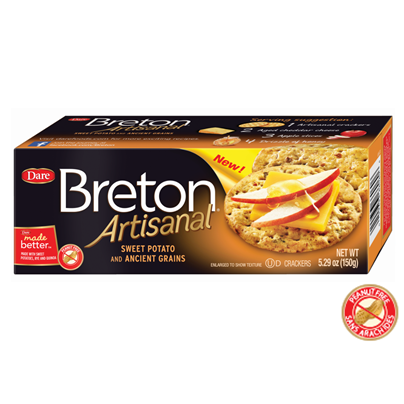 Dare Breton Artisanal Crackers Sweet Potato and Ancient Grains, 5.29 OZ (Pack of 6)