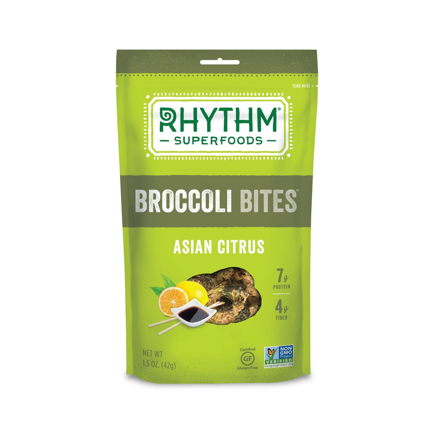 Rhythm Superfoods Asian Citrus Broccoli Bites, 1.5 Oz (Pack of 12)