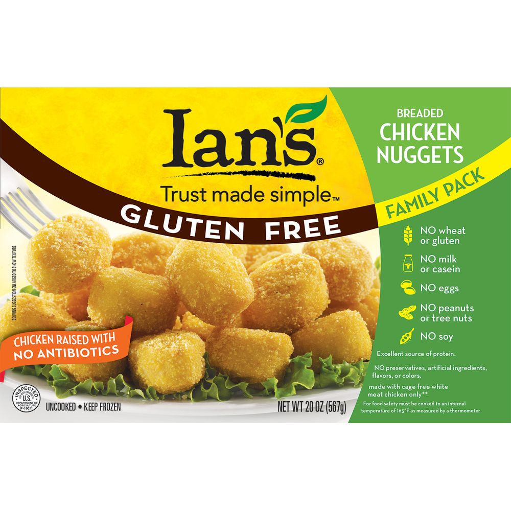 Ians Breaded Chicken Nuggets Family Pack, 20 Oz (Pack of 8)