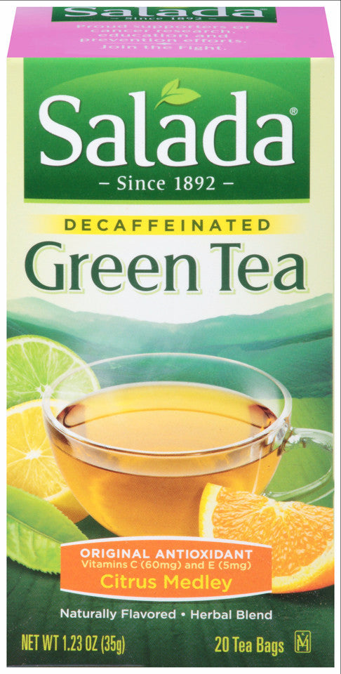 Salada Naturally Decaffeinated Original Antioxidant Citrus Flavored Green Tea Bags 20 ct (Pack of 6)