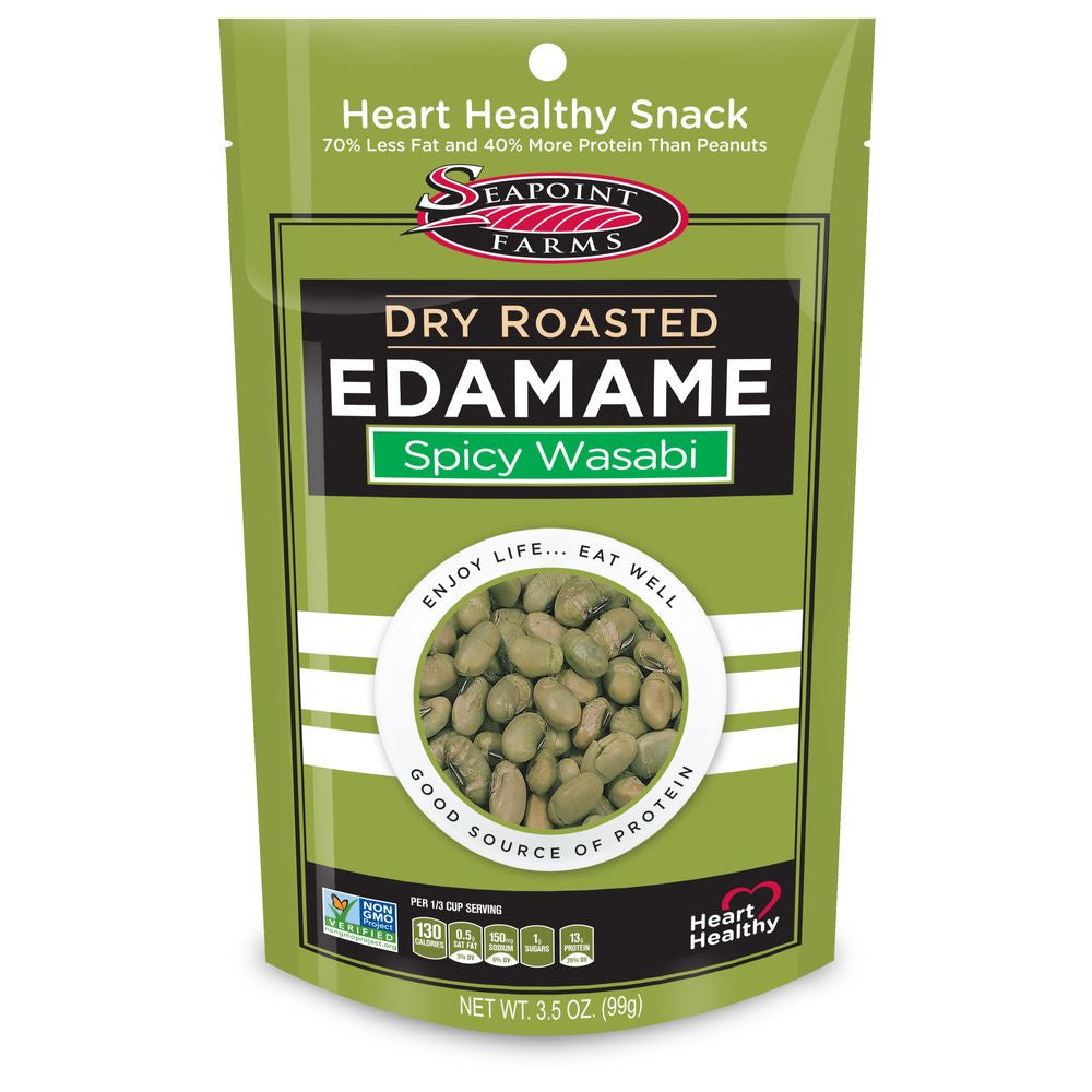 Seapoint Farms Spicy Wasabi Dry Roasted Edamame, 3.5 OZ (Pack of 12)