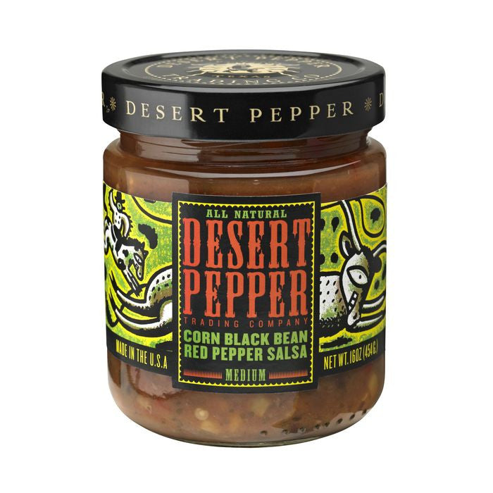 Desert Pepper Corn Black Bean Red Pepper Salsa - Medium, 16 Oz (Pack of 6)