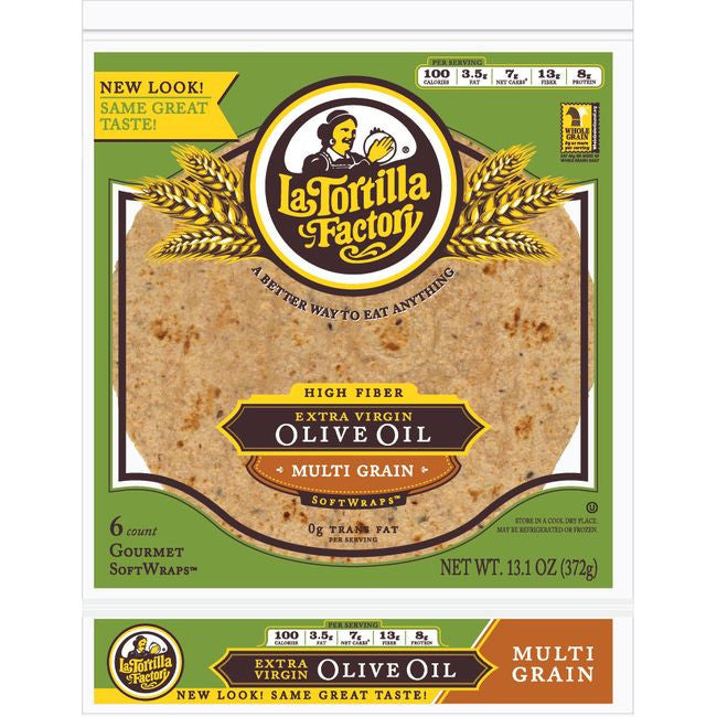 La Tortilla Factory Extra Virgin Olive Oil SoftWraps, Multi Grain, 6 Ea (Pack of 14)