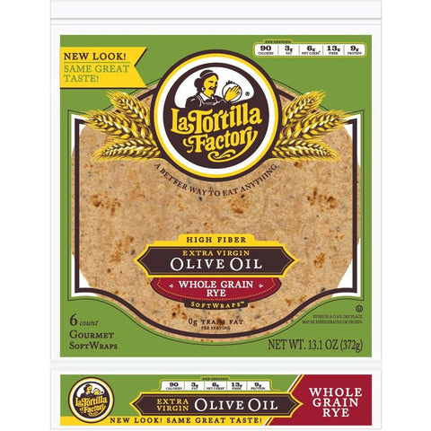 La Tortilla Factory Extra Virgin Olive Oil SoftWrap, Rye, 6 Ea (Pack of 14)