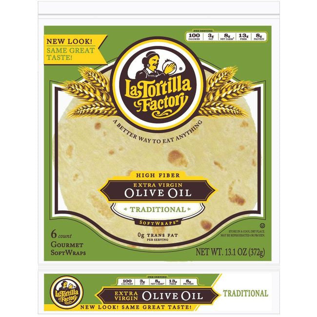 La Tortilla Factory  Extra Virgin Olive Oil SoftWraps, Traditional Flour, 6 Ea (Pack of 14)