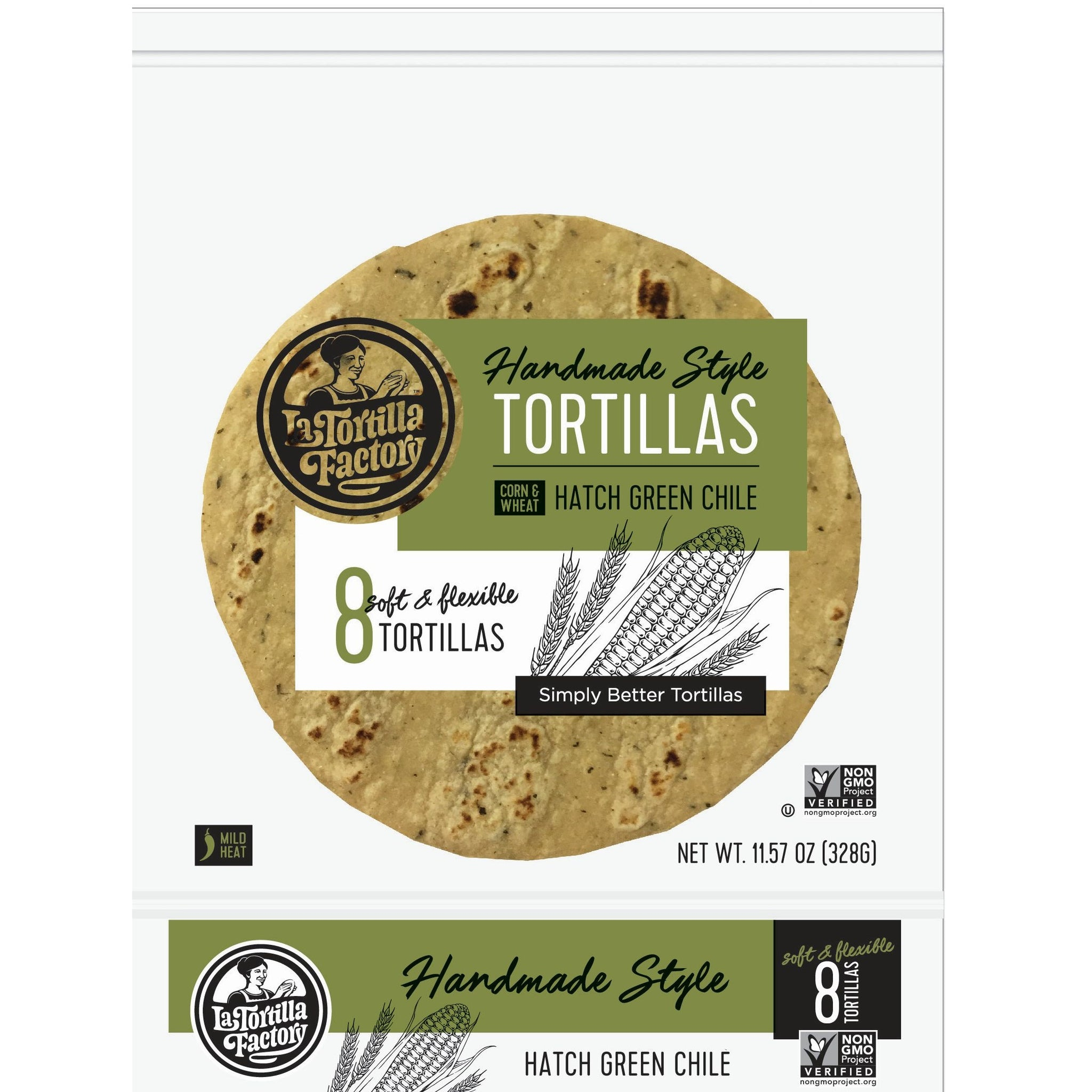 La Tortilla Factory Non-GMO Hand Made Style Corn & Wheat Tortillas, Hatch Green Chile, 8/pack (12 packs/case)