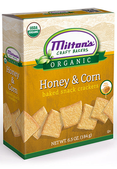 Miltons Honey & Corn Bread Flavored Baked Snack Crackers, 8 OZ (Pack of 12)