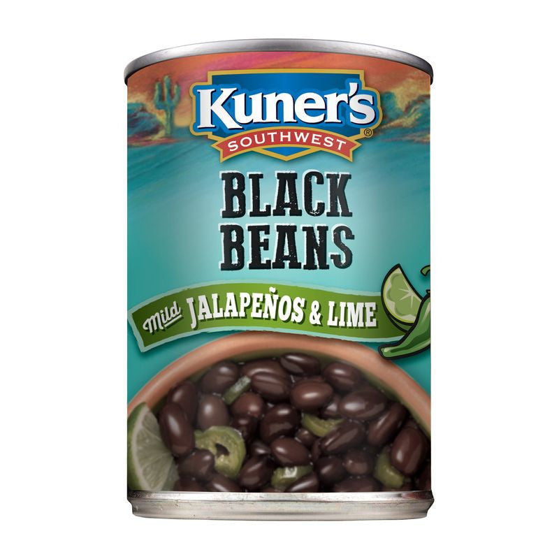 Kuner's Southwest Black Beans w/Mild Jalapenos & Lime, 15oz (Pack of 12)
