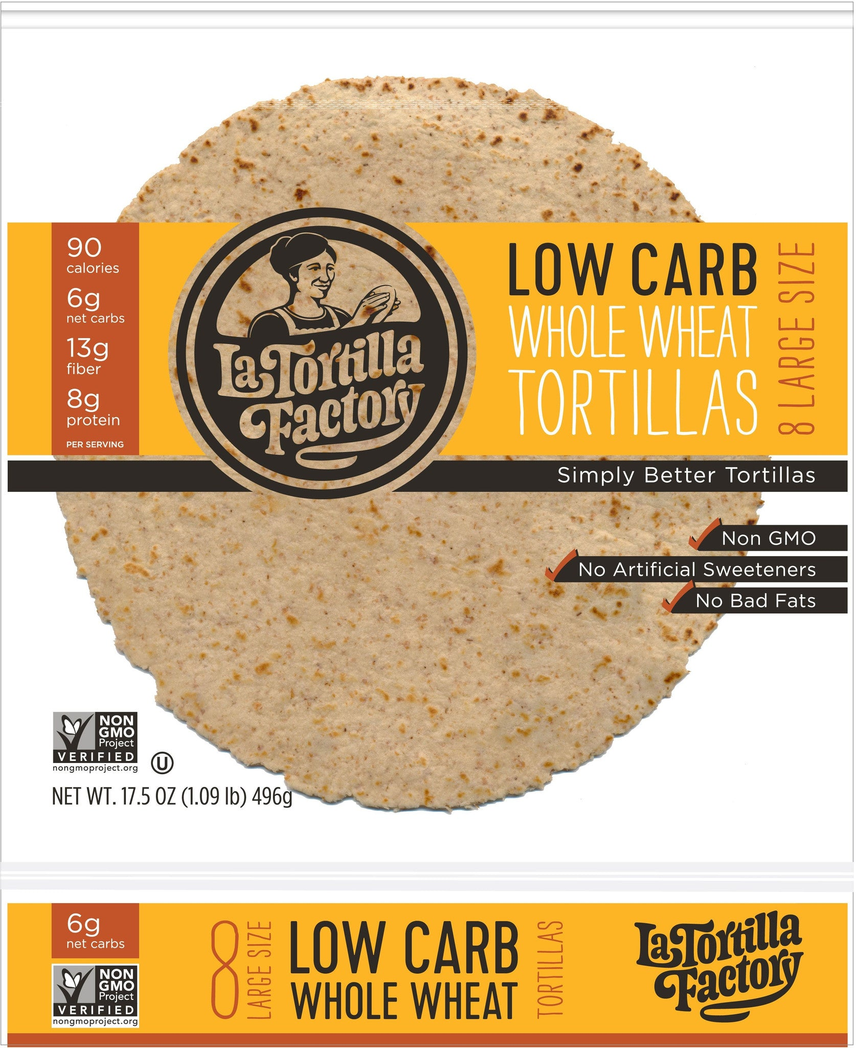 La Tortilla Factory Low Carb, High Fiber Tortillas, Made with Whole Wheat, Large Size, 8 Ea (Pack of 12)