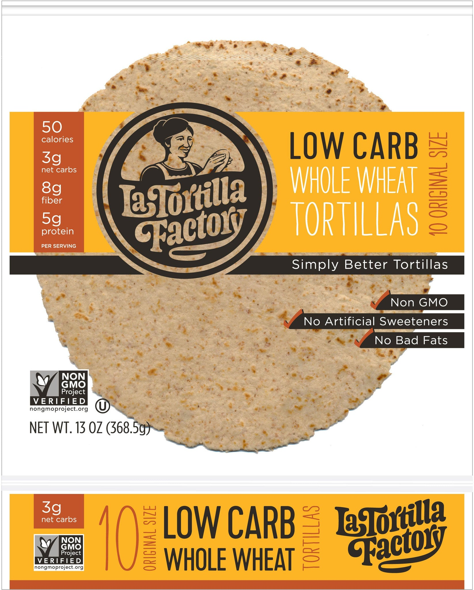 La Tortilla Factory Low Carb, High Fiber Tortillas, Made with Whole Wheat, Original Size, 10 Ea (Pack of 5)