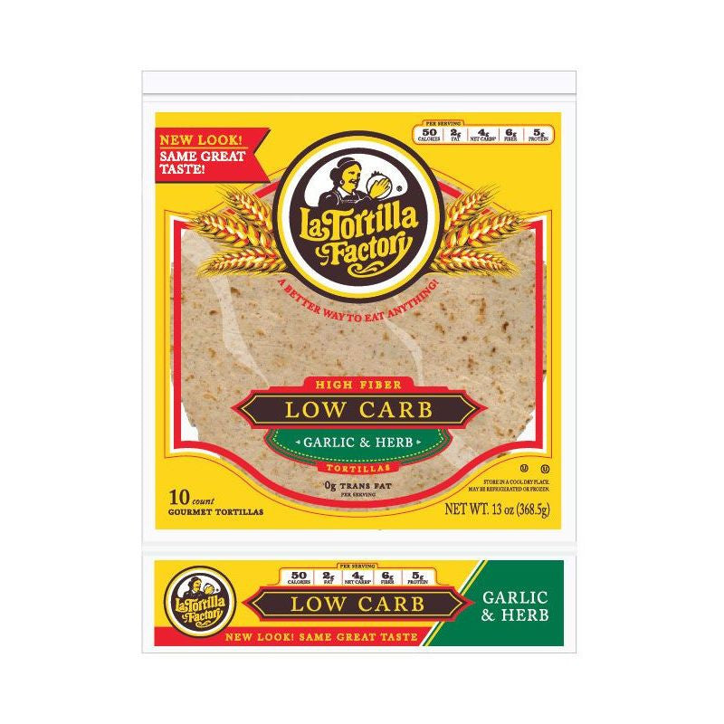 La Tortilla Factory Low Carb, High Fiber Tortillas, Garlic & Herb, 10 Ea (Pack of 10)