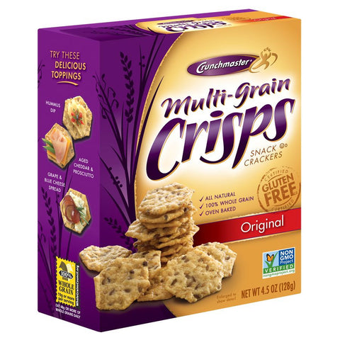 Crunchmaster Original Multi-Grain Crisps Snack Crackers, 4.5 OZ (Pack of 6)