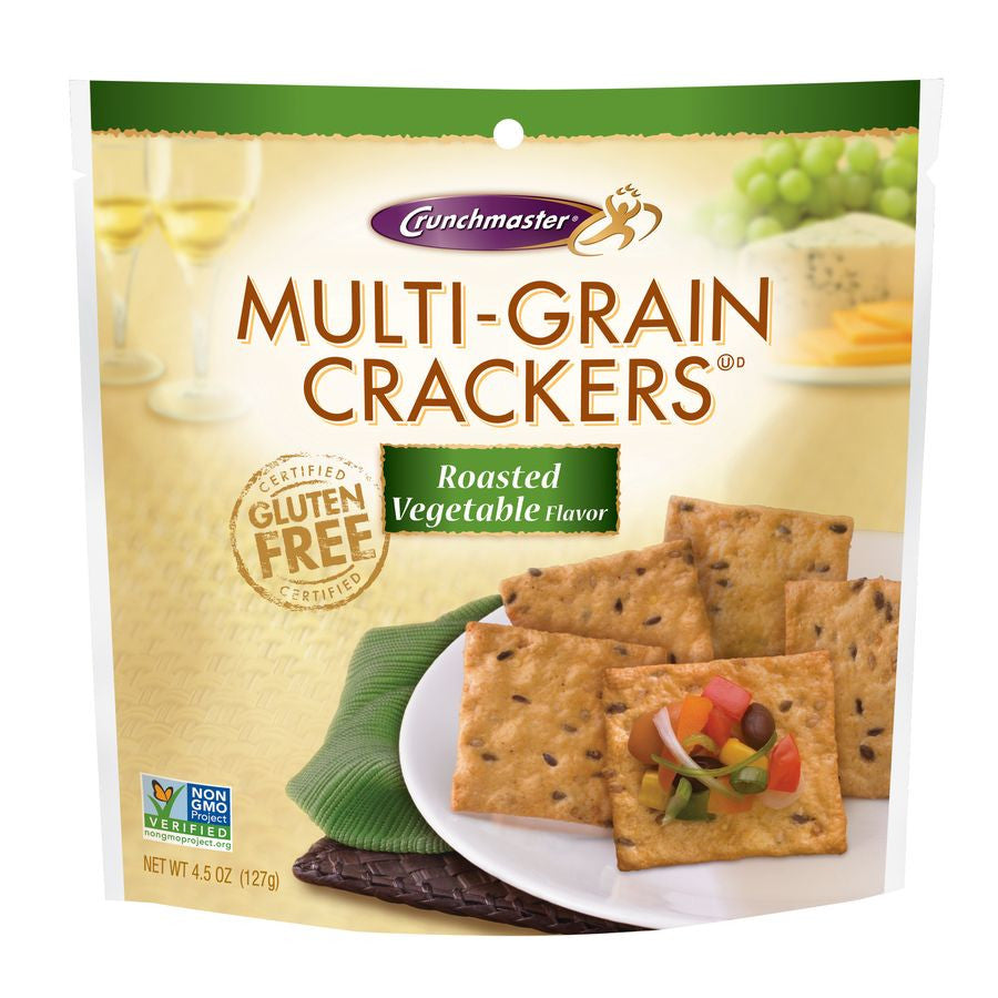 Crunchmaster Multi-Grain Roasted Vegetable Crackers, 4.5 OZ (Pack of 12)