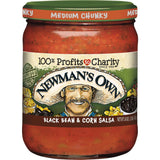 Newmans Own Medium Chunky Black Bean & Corn Salsa, 16 OZ (Pack of 12)