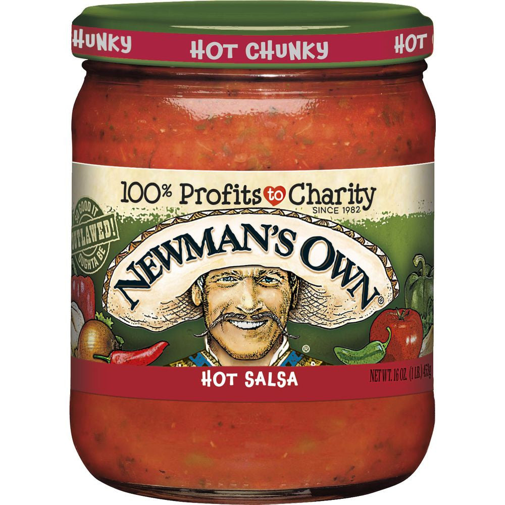 Newmans Own Hot Chunky Salsa, 16 OZ (Pack of 12)
