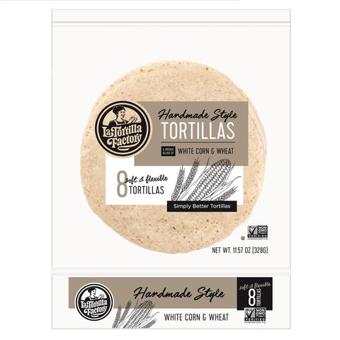 La Tortilla Factory Non-GMO Hand Made Style Tortillas, White Corn & Wheat, 8 Ea (Pack of 12)