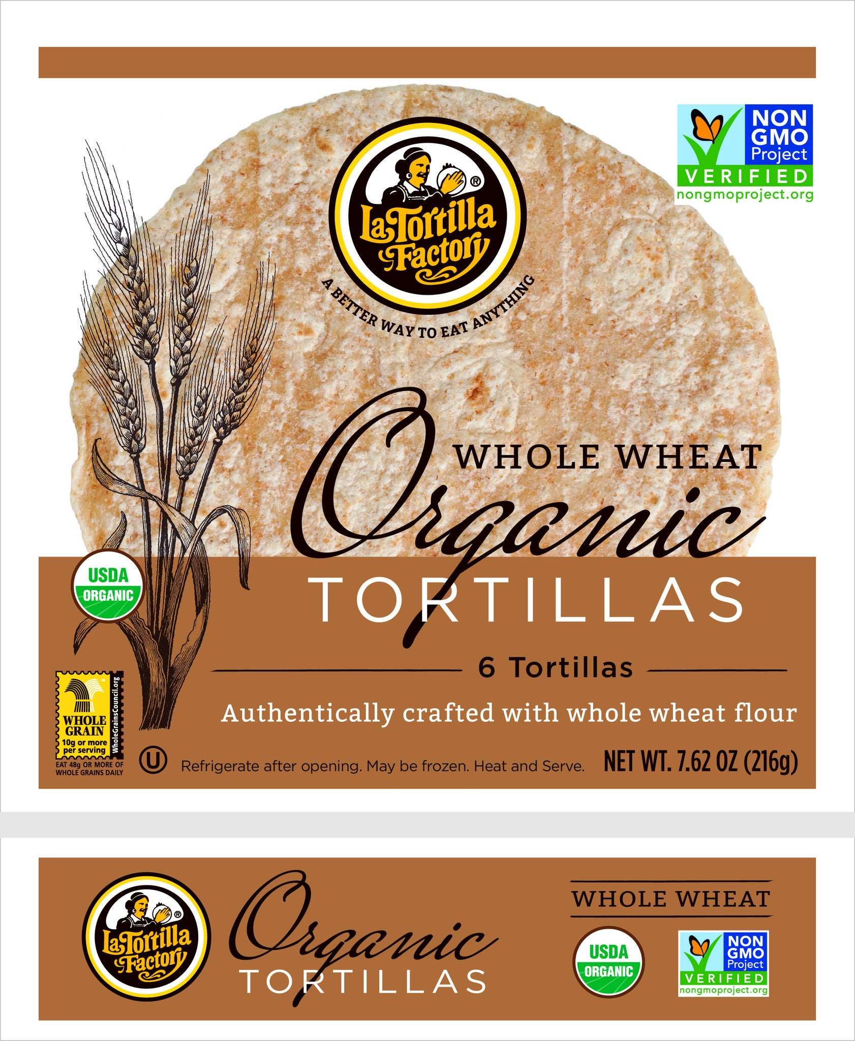 La Tortilla Factory Organic, Non-GMO Tortillas, Whole Wheat,  6 Ea (Pack of 10)