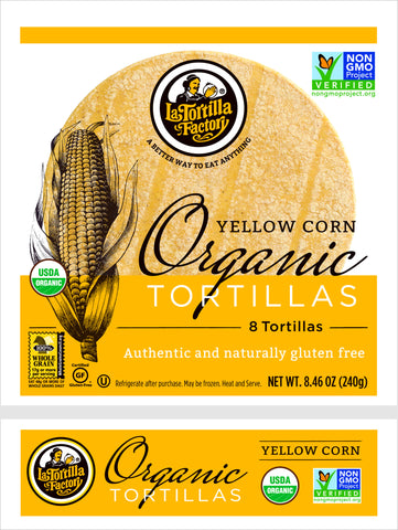 La Tortilla Factory Organic, Non-GMO Tortillas, Yellow Corn,  8 Ea (Pack of 10)