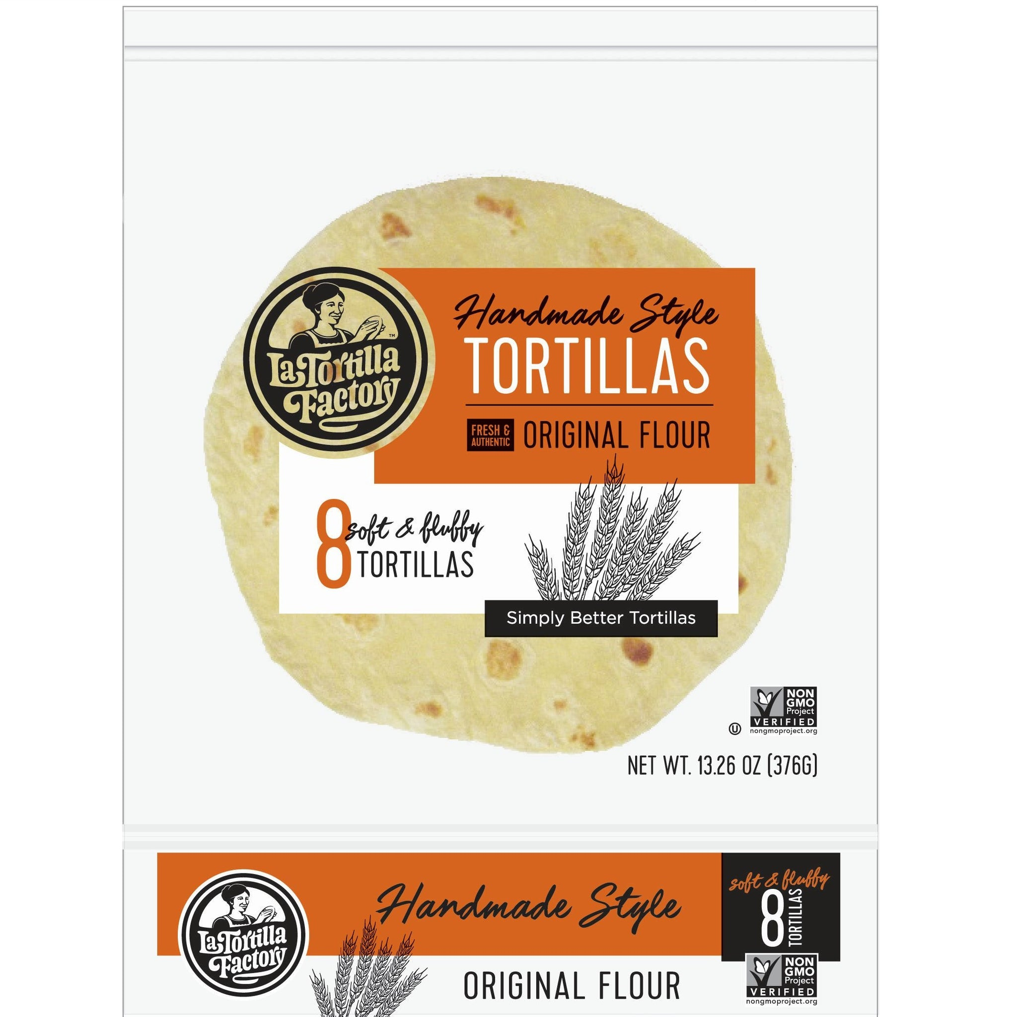 La Tortilla Factory Non-GMO Hand Made Style Tortillas, Original Flour, 8/pack (12 packs/case)