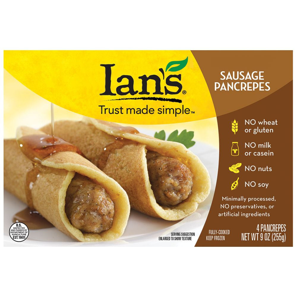 Ians Sausage Pancrepes, 9 Oz (Pack of 8)
