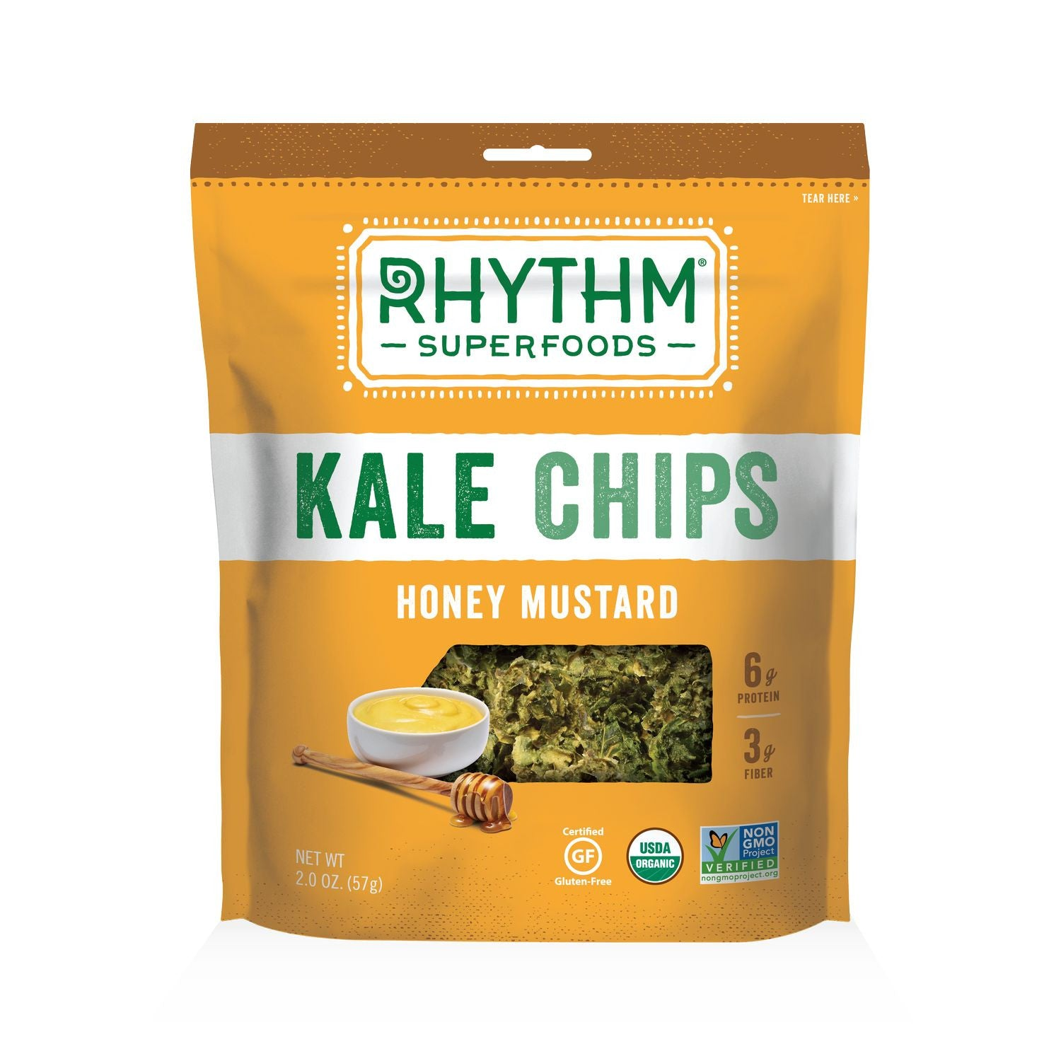 Rhythm Superfoods Honey Mustard Kale Chips, 2 Oz (Pack of 12)
