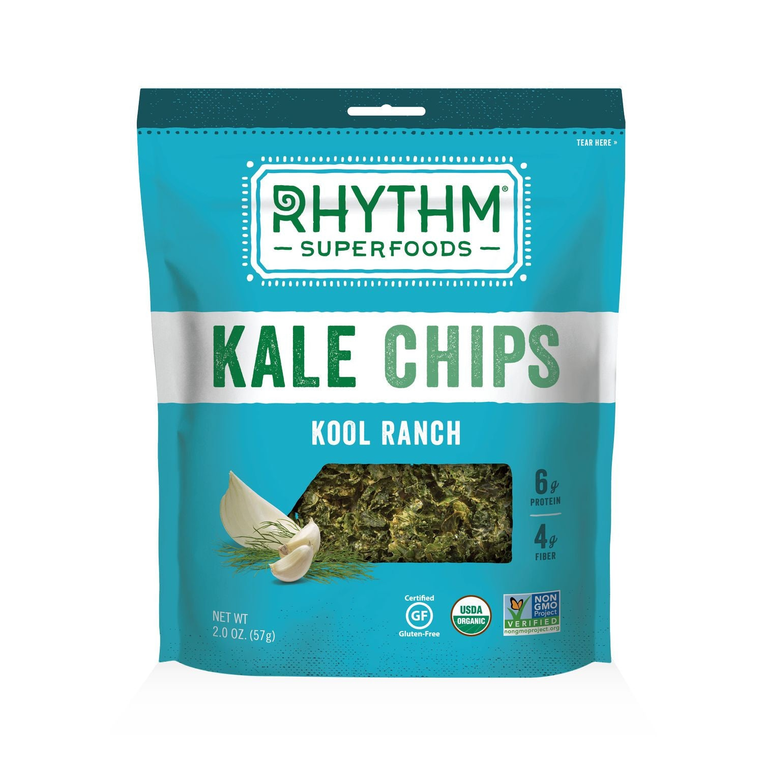 Rhythm Superfoods Kool Ranch Kale Chips, 2 OZ (Pack of 12)