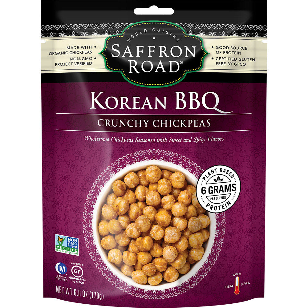 Saffron Road Korean BBQ Mild Crunchy Chickpeas, 6 Oz (Pack of 8)